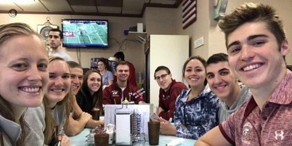 Friends at breakfast at Riley's in Cedar Rapids, Iowa